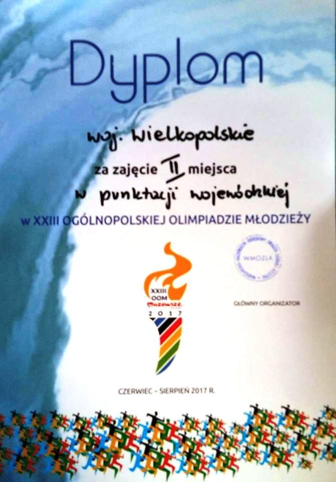 Dyplom za II miejsce w klasyfikacji województw OOM
